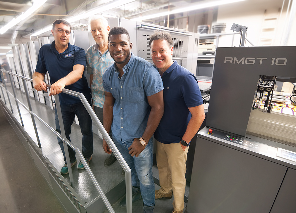 Installation of new Ryobi-Mitsubishi press hits it out of the park for Insua Packaging as LA Dodgers superstar, Yasiel Puig, flashes grin of approval.